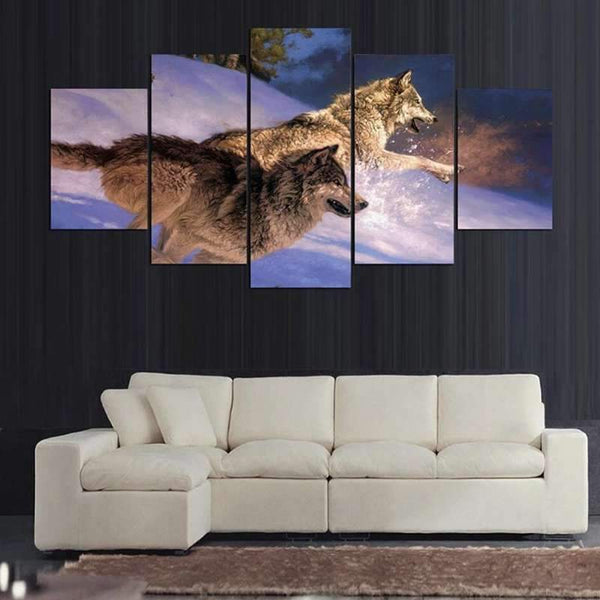 tableau loup animaux sauvages