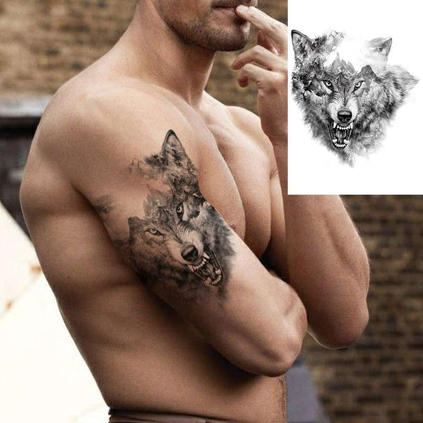 tattoo loup agressif homme