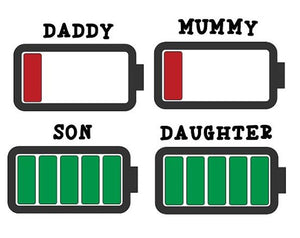 Family set - Battery levels T-Shirt Set