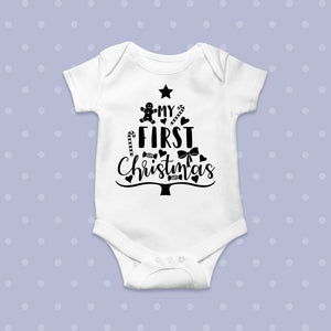 First Christmas Onesie (black)