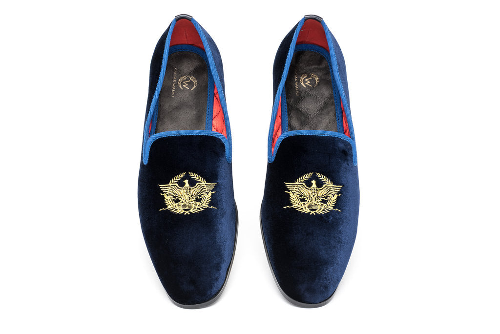 Blue Velvet Loafers for men