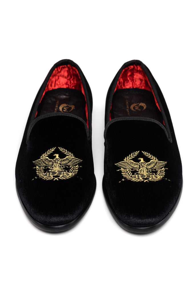 Women's Black Velour Loafers
