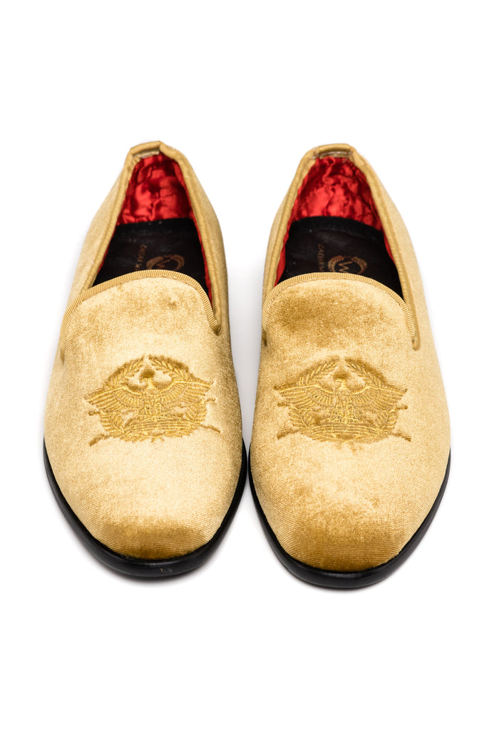 Women's Gold Velour Loafers