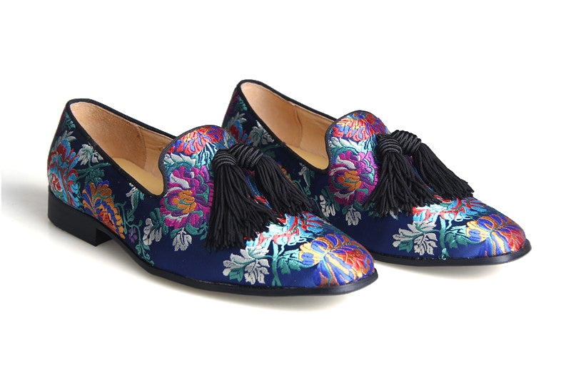 Blue Floral Embroidered Loafer