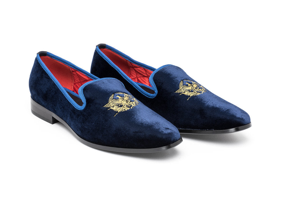 Blue Velour Loafers