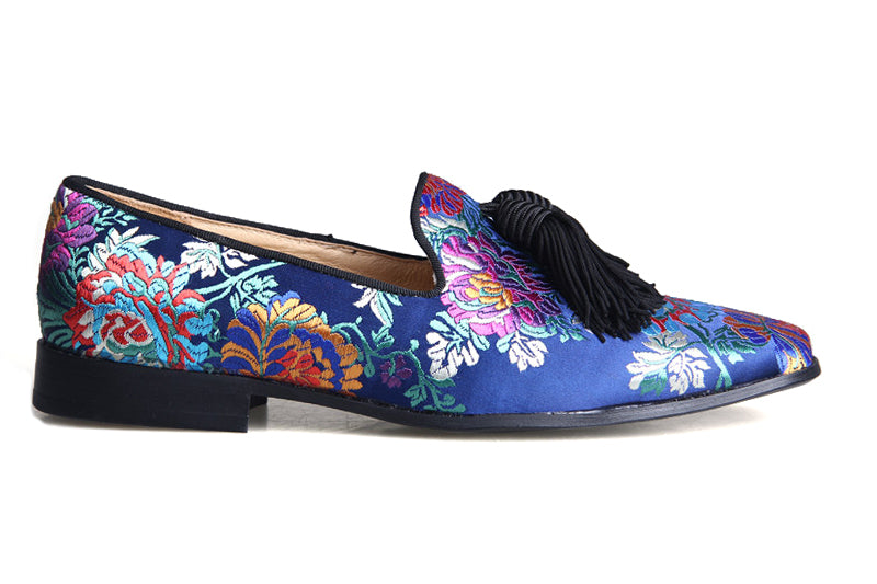 Blue Loafer Floral Embroidery