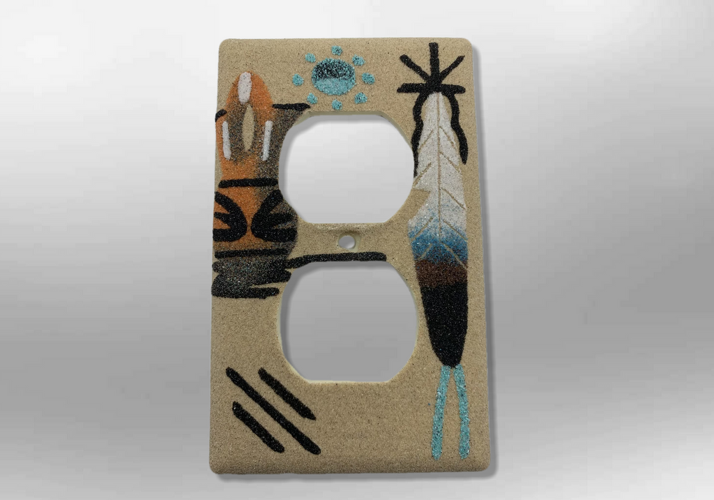 Navajo Handmade Sand Painting Feather Wedding Vase 1 Standard Duplex Outlet Plate Cover
