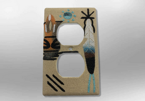 Navajo Handmade Sand Painting Feather Wedding Vase 1 Standard Duplex Outlet Plate Cover - Kachina City