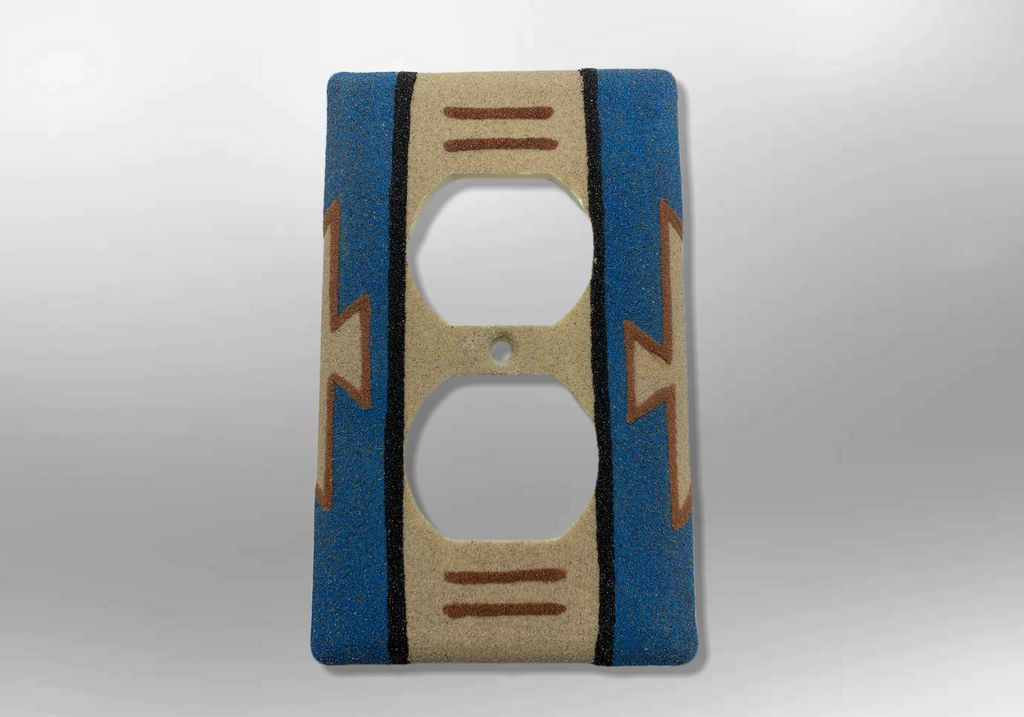 Handmade Navajo Sand Painting Blue Native Design 1 Standard Duplex Outlet Plate Cover - Kachina City