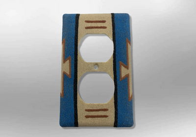 Handmade Navajo Sand Painting Blue Native Design 1 Standard Duplex Outlet Plate Cover