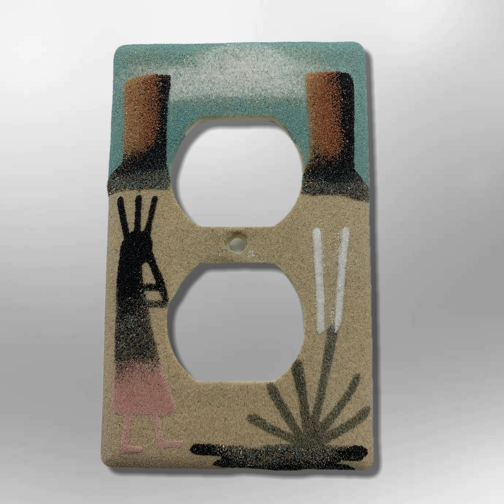 Native Handmade Navajo Sand Painting Canyon Kokopelli 1 Standard Duplex Outlet Plate Cover - Kachina City