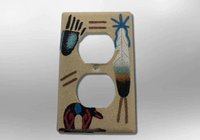 Native Handmade Navajo Sand Painting Feather Bear Paw 1 Standard Duplex Outlet Plate Cover - Kachina City