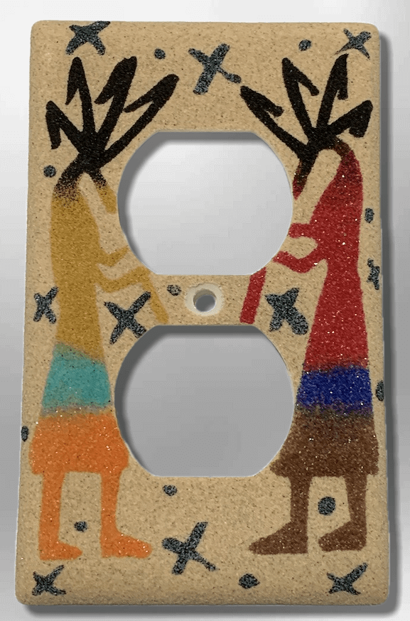 Native Handmade Navajo Sand Painting Two Kokopelli Standard Duplex Outlet Plate Cover - Kachina City