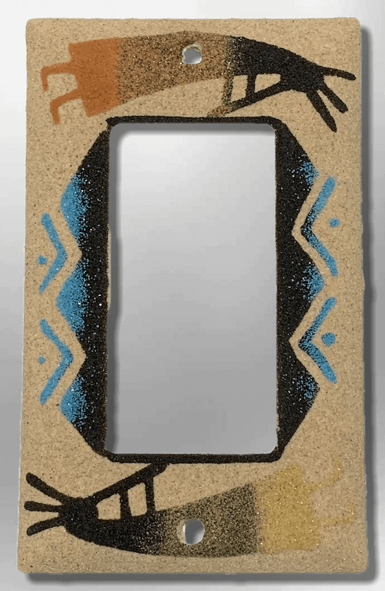 Native Navajo Handmade Sand Painting Two Kokopelli 1 Standard Single Rocker Switch Plate Cover - Kachina City
