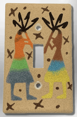 Native Handmade Navajo Sand Painting Two Kokopelli Dancers 1 Standard Single Toggle Switch Plate Cover