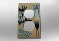 Handmade Navajo Sand Painting Feather Teepee 1 Standard Duplex Outlet Plate Cover - Kachina City
