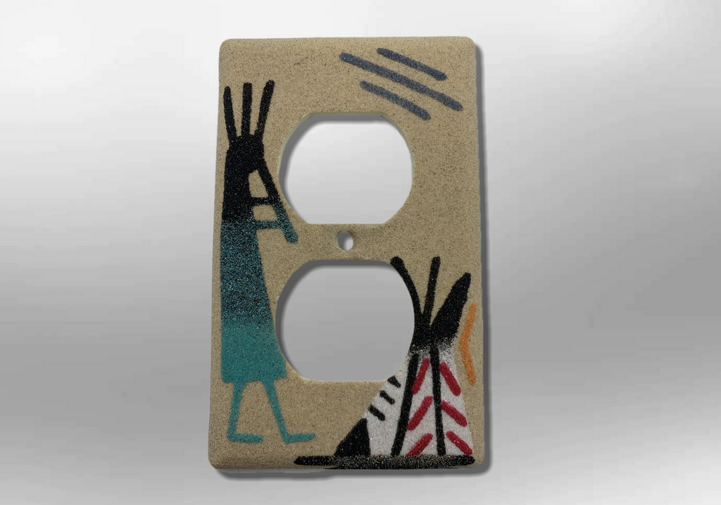 Navajo Sand Painting Kokopelli Teepee 1 Standard Duplex Outlet Plate Cover - Kachina City