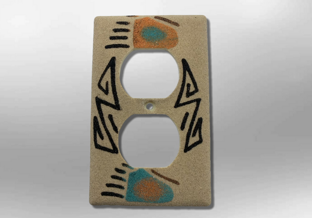 Navajo Handmade Sand Painting 2 Bear Paw 1 Standard Duplex Outlet Plate Cover - Kachina City