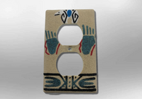 Navajo Handmade Sand Painting Bear W/ Paw 1 Standard Duplex Outlet Plate Cover - Kachina City