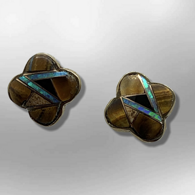 Bronze Inlay Different Stones Clover Shape Post Earrings