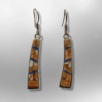 Bronze Inlay Stones Handmade Curved Sticks Hook Earrings - Kachina City
