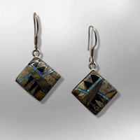 Bronze Handmade Inlay Stones Square Shape Hook Earrings - Kachina City