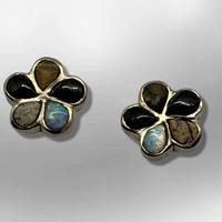Bronze Handmade Inlay Stones Flower Small Post Earrings - Kachina City