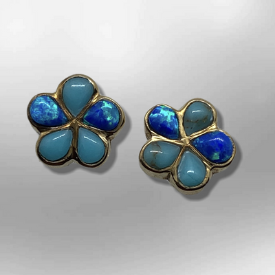 Bronze Handmade Inlay Stones Flower Small Post Earrings