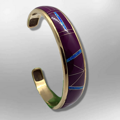 Bronze Full Inlay Different Stones with Opal Cuff Bracelet