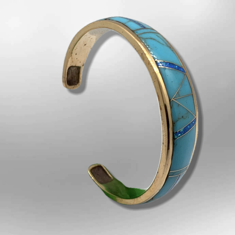 Bronze Full Inlay Different Stones with Opal Cuff Bracelet - Kachina City