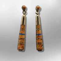 Bronze Inlay Different Stones Half Barrel Shape Post Dangle Earrings - Kachina City