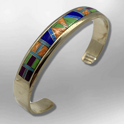 Bronze Half Inlay Different Stones with Opal Cuff Bracelet