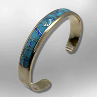 Bronze Half Inlay Different Stones with Opal Cuff Bracelet - Kachina City