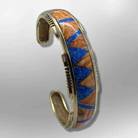 Bronze Handmade Inlay Stones Ridged Edges Cuff Bracelet - Kachina City