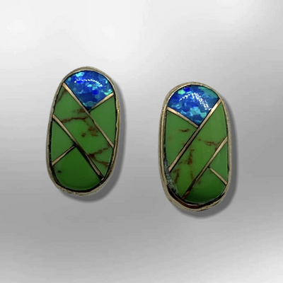 Bronze Inlay different Stones Long Oval Round Shape Post Earrings