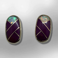 Bronze Inlay different Stones Oval Round Shape Post Earrings - Kachina City