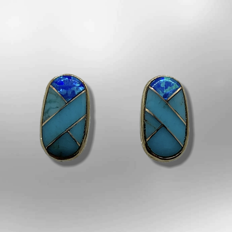 Bronze Inlay different Stones Long Oval Round Shape Post Earrings - Kachina City