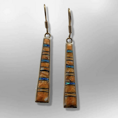 Bronze Handmade Inlay Stones Straight Sticks Hook Earrings