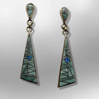 Bronze Inlay Stones Teardrop Triangle Post Dangle Earrings