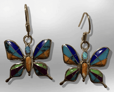 Bronze Inlay Different Stones Handmade Butterfly Shape Hook Earrings