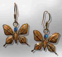 Bronze Inlay Different Stones Handmade Butterfly Shape Hook Earrings - Kachina City