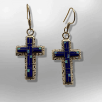 Bronze Handmade Different Stones Inlay Cross Hook Earrings - Kachina City