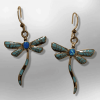 Bronze Inlay Stones Handmade Dragonfly Shape Hook Earrings - Kachina City