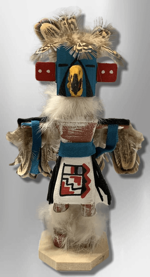 Handmade Painted Aspen Wood Six 6'' Inch Eagle Dancer Kachina Doll - Kachina City