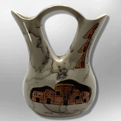 Handmade Small Horse Hair Pueblo Design Wedding Vase Pottery
