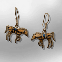 Bronze Inlay Handmade Different Stones Horse Shape Hook Earrings - Kachina City