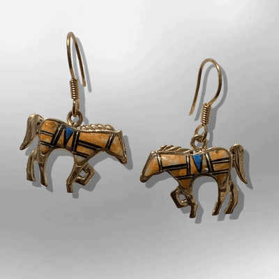 Bronze Inlay Handmade Different Stones Horse Shape Hook Earrings