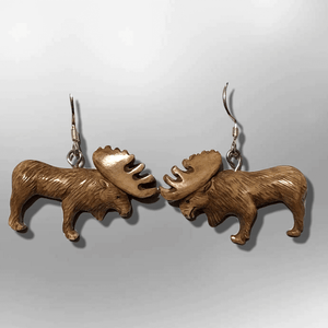 Bone Carved Eating Full Elk Body No Paint Handmade Detailed Hook Dangle Earrings - Kachina City