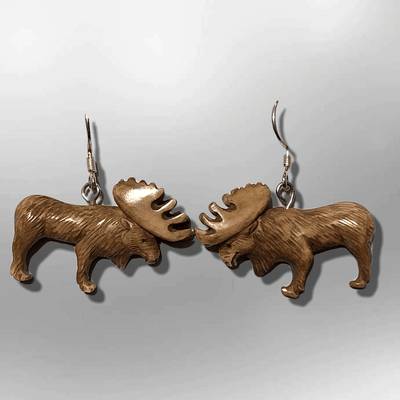Bone Carved Eating Full Elk Body No Paint Handmade Detailed Hook Dangle Earrings