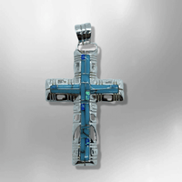 Sterling Silver Inlay different Stones Breathable Cross Pendant - Kachina City
